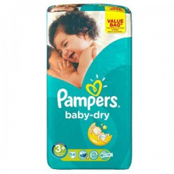 Pack 54 Couches Pampers de la gamme Baby Dry taille 3+ sur 123 Couches