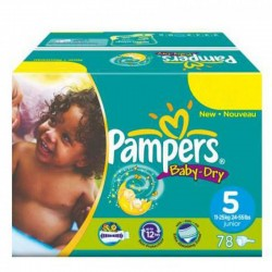 176 Couches Pampers Baby Dry taille 5 sur 123 Couches
