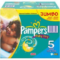 572 Couches Pampers Baby Dry taille 5 sur 123 Couches
