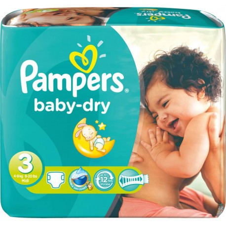 630 Couches Pampers Baby Dry taille 3 sur 123 Couches