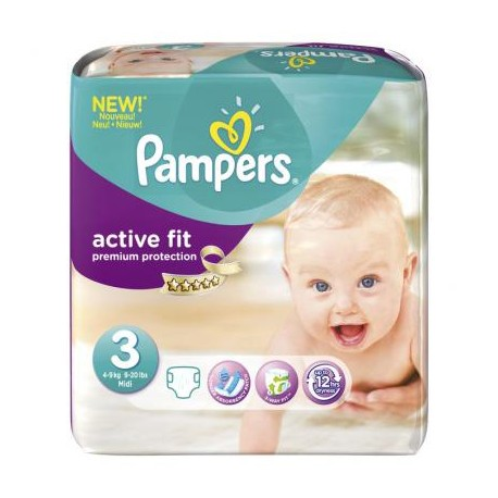 Pack 68 Couches Pampers Active Fit taille 3 sur 123 Couches