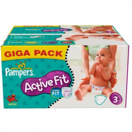 136 Couches Pampers Active Fit taille 3 sur 123 Couches