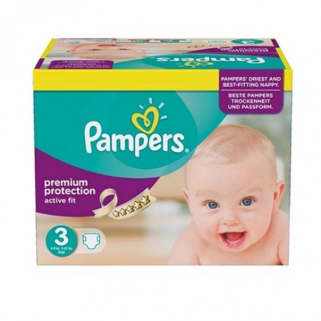 340 Couches Pampers Active Fit taille 3 sur 123 Couches