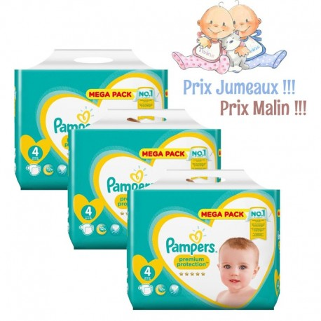 Pack jumeaux 864 Couches Pampers New Baby Premium Protection taille 4 sur 123 Couches