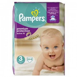 Pack 204 Couches Pampers de la gamme Active Fit taille 3 sur 123 Couches