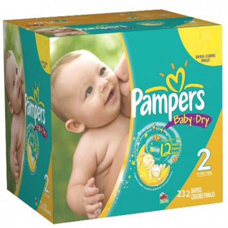 Pack économique de 232 Couches Pampers Baby Dry taille 2 sur 123 Couches