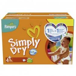 Maxi Pack d'une quantité de 308 Couches Pampers Simply Dry de taille 4+ sur 123 Couches