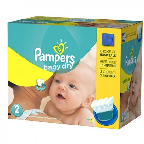 Maxi giga pack 330 Couches Pampers Baby Dry taille 2 sur 123 Couches