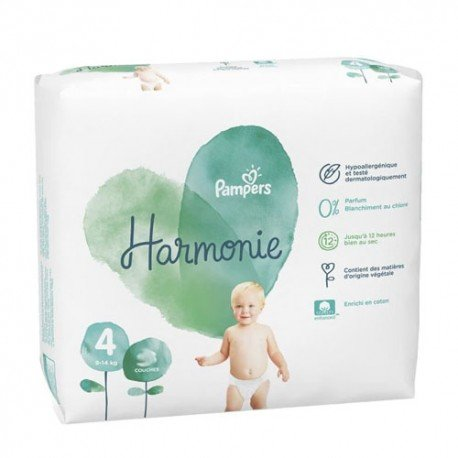 Pack 28 Couches Pampers Harmonie taille 4 sur 123 Couches