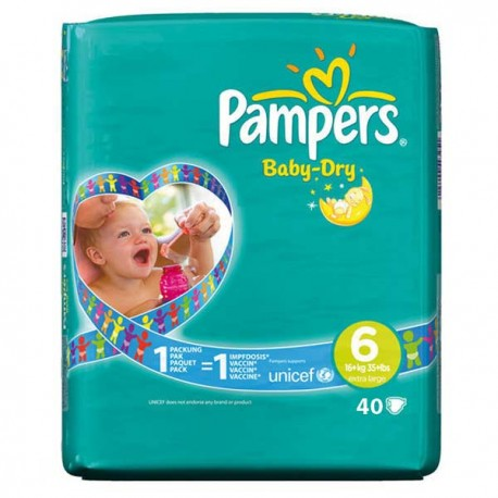 Pack 52 Couches Pampers Baby Dry taille 6 sur 123 Couches