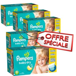 Maxi mega pack 416 Couches Pampers Baby Dry taille 6 sur 123 Couches