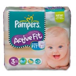 Pack d'une quantité de 111 Couches Pampers Active Fit de taille 3 sur 123 Couches