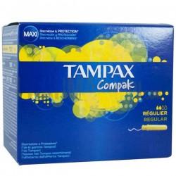 Pack d'une quantité de 80 Tampons de la marque Tampax Compak de taille regular avec applicateur sur 123 Couches