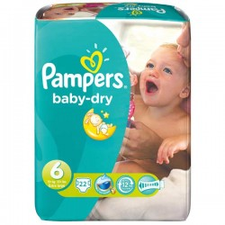Pack de 22 Couches Pampers Baby Dry de taille 6 sur 123 Couches