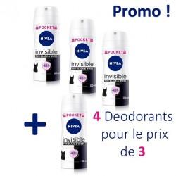 Pack économique de 4 Deodorants Nivea de la gamme Invisible Black and White - 4 au prix de 3 taille Pocket sur 123 Couches