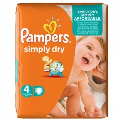 Pack 46 Couches Pampers de la gamme Simply Dry de taille 4 sur 123 Couches