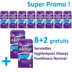 Pack 300 Serviettes hygiéniques d'Always Pantiliners - 10 Packs de 30 Serviettes hygiéniques de taille Normal sur 123 Couches