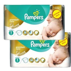 Pack jumeaux 572 Couches Pampers New Baby Premium Care taille 1 sur 123 Couches