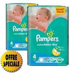 Pack 39 Couches Pampers Active Baby Dry taille 4 sur 123 Couches