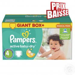 Giga pack 286 Couches Pampers Active Baby Dry taille 4 sur 123 Couches