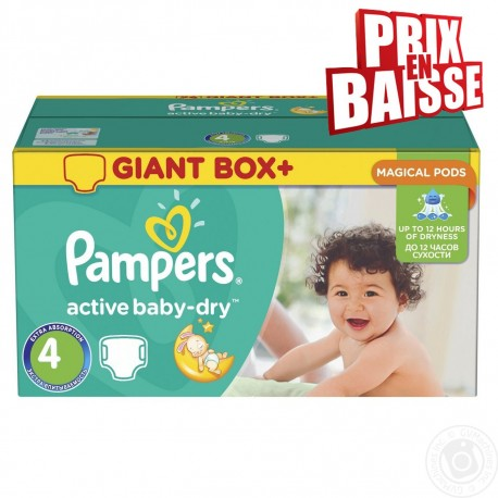 Maxi giga pack 338 Couches Pampers Active Baby Dry taille 4 sur 123 Couches
