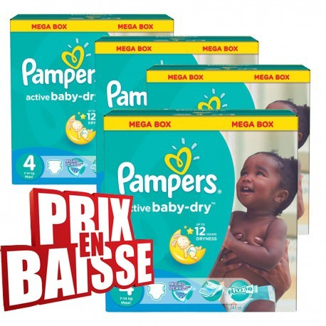 Maxi mega pack 494 Couches Pampers Active Baby Dry taille 4 sur 123 Couches