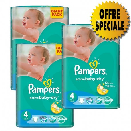 Pack jumeaux 546 Couches Pampers Active Baby Dry taille 4 sur 123 Couches