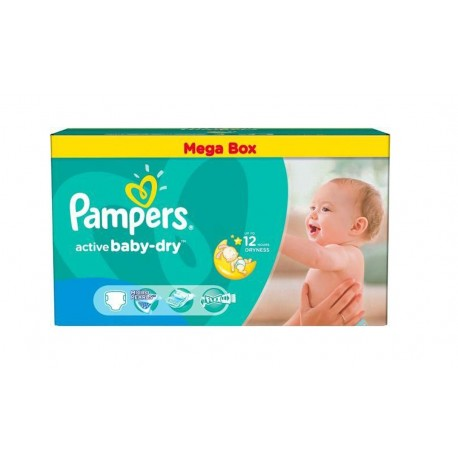 Pack jumeaux 559 Couches Pampers Active Baby Dry taille 4 sur 123 Couches