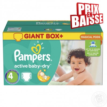 Pack jumeaux 611 Couches Pampers Active Baby Dry taille 4 sur 123 Couches