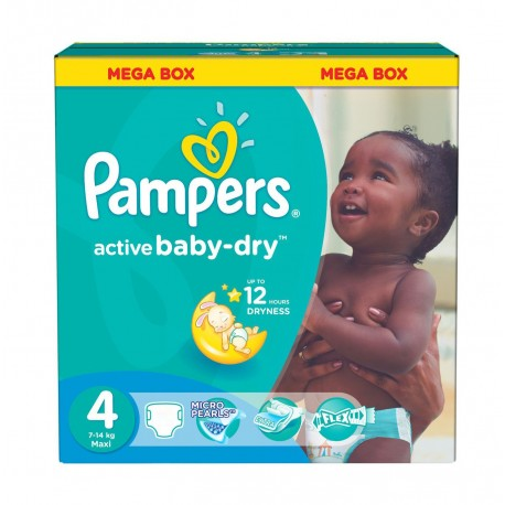 Pack jumeaux 637 Couches Pampers Active Baby Dry taille 4 sur 123 Couches