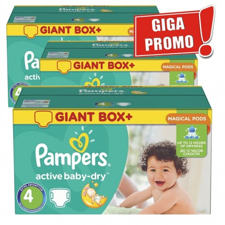 Pack jumeaux 650 Couches Pampers Active Baby Dry taille 4 sur 123 Couches