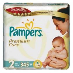 Pack d'une quantité de 345 Couches Pampers Premium Care de taille 2 sur 123 Couches
