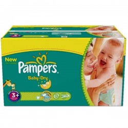 Pack d'une quantité de 102 Couches Pampers Baby Dry taille 3+ sur 123 Couches