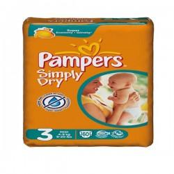 Pack d'une quantité de 60 Couches Pampers de la gamme Simply Dry de taille 3 sur 123 Couches