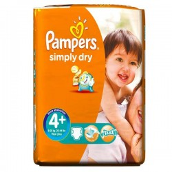 Pack 44 Couches Pampers Simply Dry taille 4+ sur 123 Couches