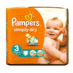 Pack 56 Couches de la marque Pampers Simply Dry de taille 3