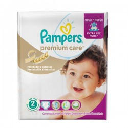 Pack 32 Couches Pampers de la gamme Premium Care taille 2 sur 123 Couches