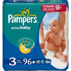 Pack 96 Couches Pampers de la gamme Active Baby de taille 3