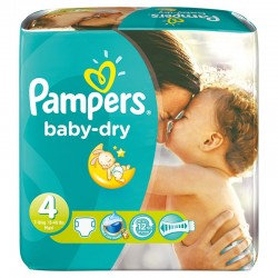 Maxi Pack de 180 Couches Pampers Baby Dry de taille 4 sur 123 Couches
