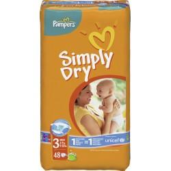 Pack d'une quantité de 48 Couches de Pampers Simply Dry taille 3 sur 123 Couches