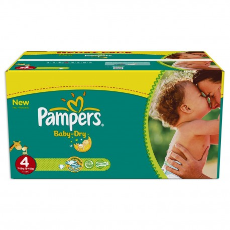 Pack 360 Couches Pampers Baby Dry de taille 4 sur 123 Couches
