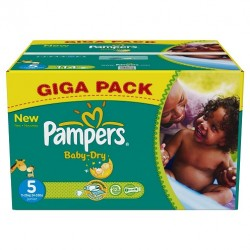 Pack économique de 180 Couches Pampers Baby Dry taille 5