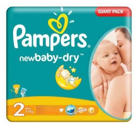 Giga Pack d'une quantité de 68 Couches Pampers New Baby Dry de taille 2 sur 123 Couches