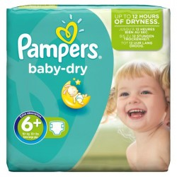 Pack 30 Couches de Pampers Baby Dry taille 6+ sur 123 Couches