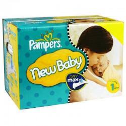 Mega Pack d'une quantité de 299 Couches Pampers New Baby taille 1 sur 123 Couches