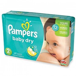 Maxi giga pack 363 Couches Pampers Baby Dry taille 2 sur 123 Couches