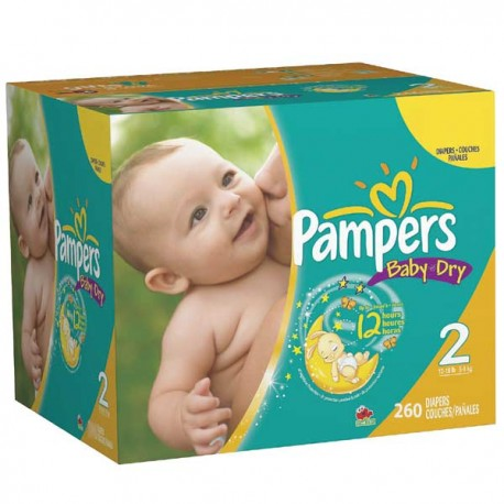 Pack jumeaux 528 Couches Pampers Baby Dry taille 2 sur 123 Couches