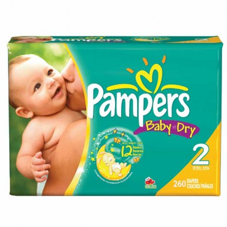 Pack jumeaux 693 Couches Pampers Baby Dry taille 2 sur 123 Couches
