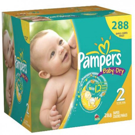 Pack jumeaux 792 Couches Pampers Baby Dry taille 2 sur 123 Couches