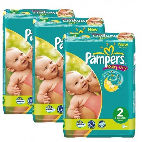 Pack jumeaux 825 Couches Pampers Baby Dry taille 2 sur 123 Couches